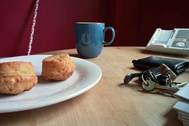 Still life with inverted muffin